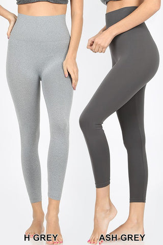 Ash Gray High Waist Tummy Control Capri Leggings