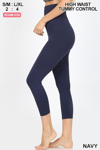 Navy High Waist Tummy Control Capri Leggings