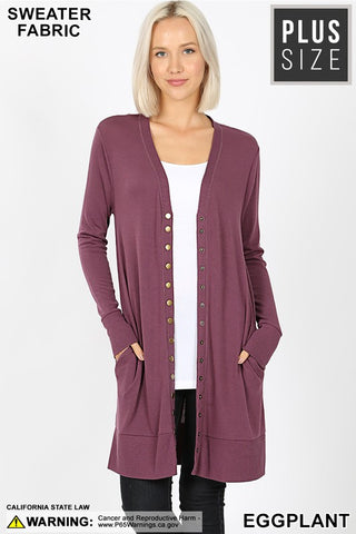 Eggplant Curvy Plus Thigh Length Snap Button Sweater Cardigan