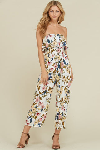 White Ruffle Tube Smocking Detail Jumpsuit