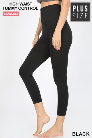Black Curvy Plus High Waist Tummy Control Capri Leggings
