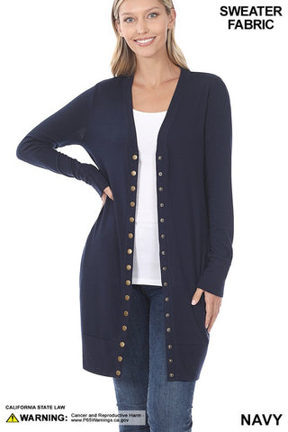 Navy Snap Button Thigh Length Cardigan with Ribbed Detail
