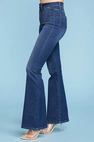 Judy Blue High Waist Patch Pocket Flare Jeans