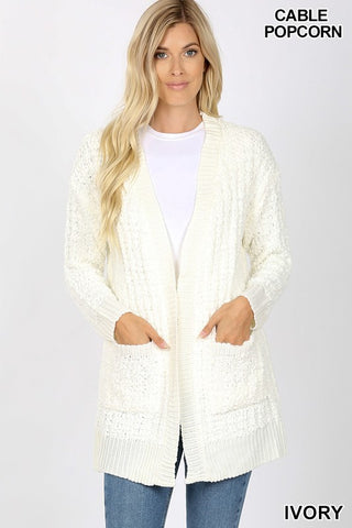 Ivory Popcorn Sweater Cardigan with Pockets