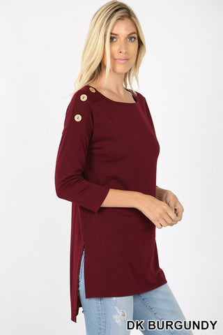 Dark Burgundy Single Shoulder 3 Button Top w/Hi-Low Hem
