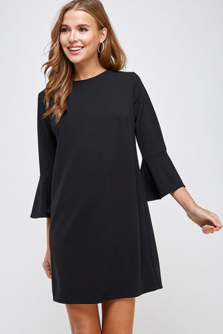 Black 3/4 Bell Sleeve Shift Dress
