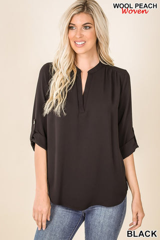 Black Woven Henley Blouse w/Split Neck