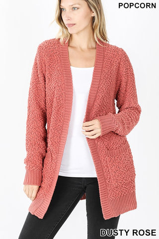 Dusty Rose Long Sleeve Popcorn Cardigan with Pockets