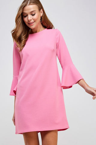 Pink 3/4 Bell Sleeve Shift Dress