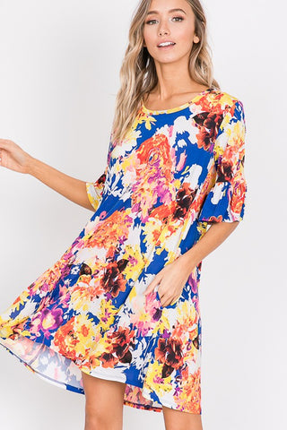 Royal Blue Floral Print Dress with Ruffle Sleeves and Pockets