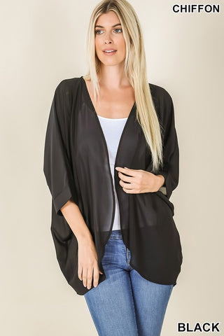 Black Woven Chiffon Cardigan with Shoulder Pleat