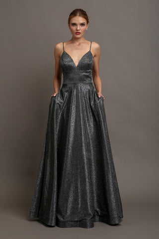 Black Glitter Prom Dress with Criss Cross Back and Pockets