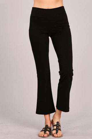 Black Tummy Control Pull-On Waistband Wrinkle Free Ponte Pants