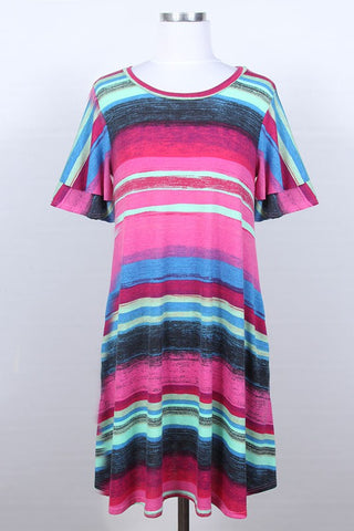 Pink & Blue Mult Striped Dress w/Double Ruffle and Pockets