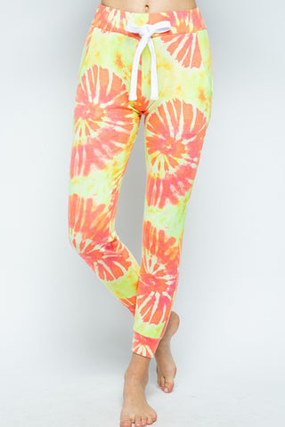 Coral Tie Dye Print Joggers with Pockets