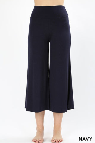 Navy Blue Gaucho Capri Pants