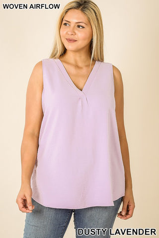 Dusty Lavender Curvy Plus Woven Airflow V Neck Sleeveless Top