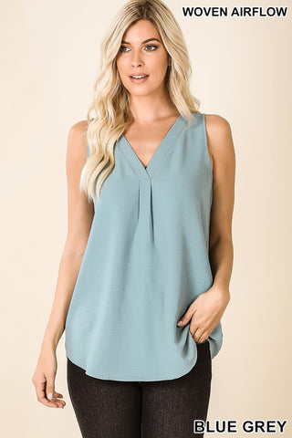 Blue Gray Woven V Neck Sleeveless Top
