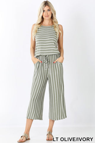 Olive & Ivory Striped Sleeveless Capri Jumpsuit w/Pockets