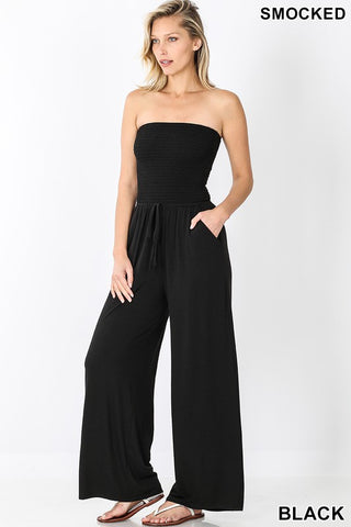 Black Smocked Tube Top Jumpsuit with Pockets