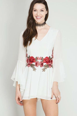 White Bell Sleeve Romper with Red Embroidery
