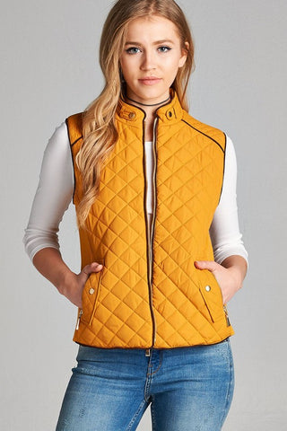 Mustard Quilted Padded Vest with Pockets