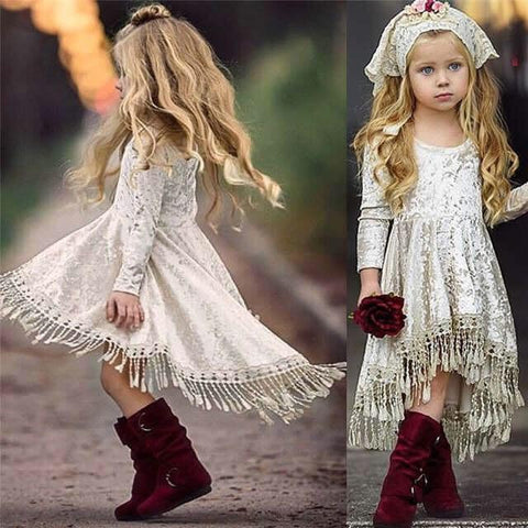 Cream Hi-Lo Velvet Dress with Fringe