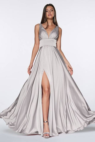 Silver Satin V-neck Prom/Pageant Dress with Side Slit