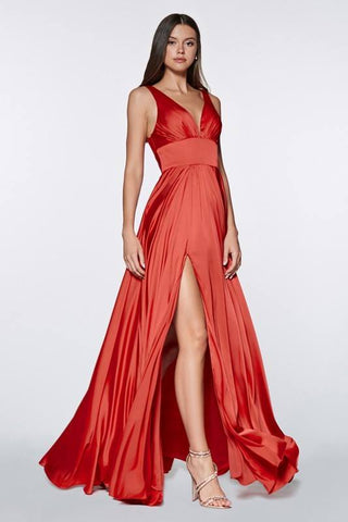 Red Satin V-neck Prom/Pageant Dress with Side Slit