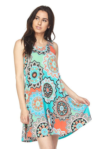 Mint Green & Coral Medallion Print Sleeveless Dress