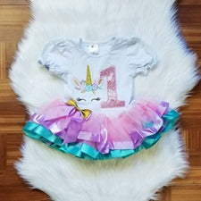 Pink Unicorn 1st and 2nd Birthday Tutu Dress