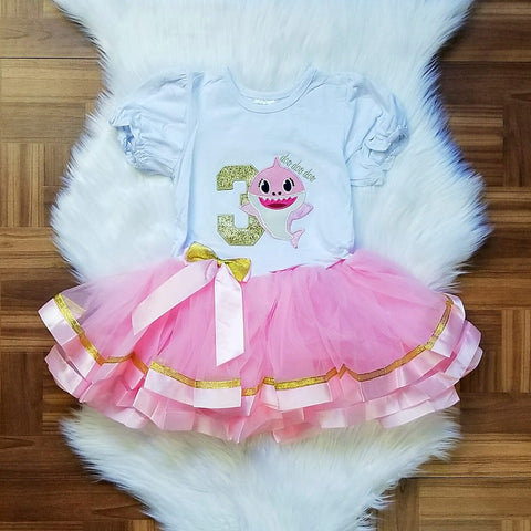 Pink Girls Baby Shark 1st and 2nd Birthday Tutu Dress