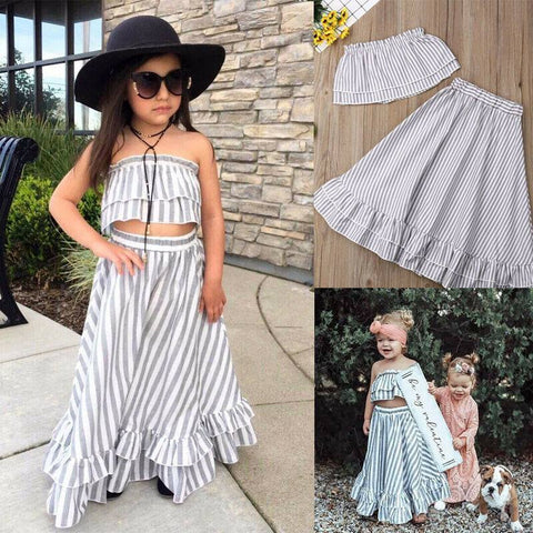 Gray Stripe Girls 2pc Crop Top and Matching Skirt