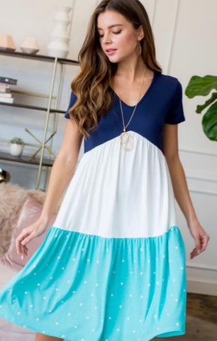 Navy Blue, Mint Green, White Polka Dot Tiered Midi Dress