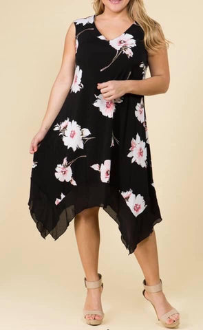 Black Curvy Plus Floral Asymmetrical Dress