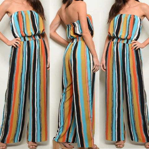 Multi Striped Strapless Wide Leg Jumpsuit