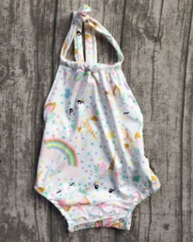 White Girls Unicorn Halter Romper
