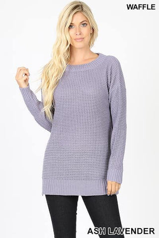 Ash Lavender Round Neck Waffle Sweater with Side Slit