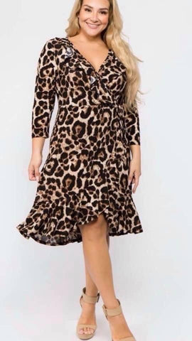 Brown Curvy Plus Leopard Print Surplice Dress