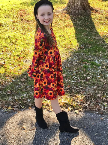 Orange Girls Fall Sunflower Bell Sleeve Dress