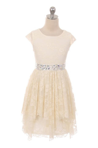 Ivory Girls Lace Swing Dress