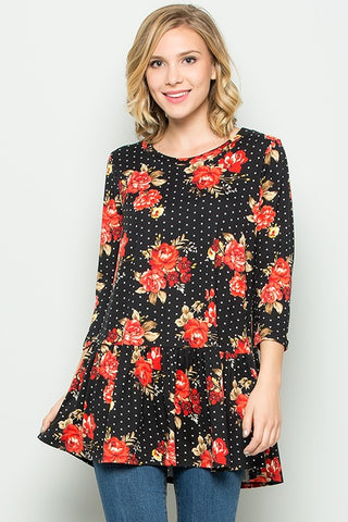 Black Curvy Plus Tunic with Red Flowers and White Polka Dots