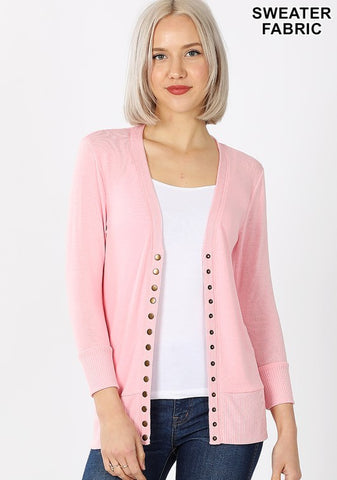 Dusty Pink 3/4 Sleeve Cardigan Sweater