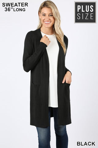 Black Curvy Plus Open Cardigan Sweater with Pockets