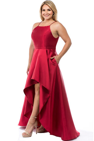 Red Curvy Plus Layered Taffeta High Low Prom/Pageant Dress