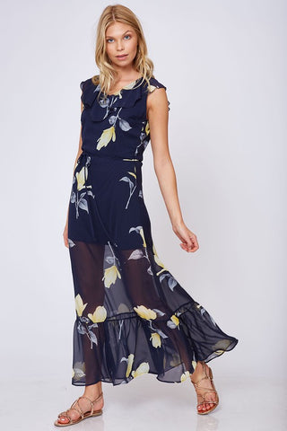 Navy Blue Floral Maxi Dress with Ruffle Sleeves