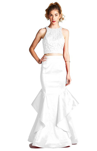 White 2pc Mermaid Style Prom Dress