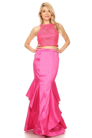Fuchsia 2pc Mermaid Style Prom Dress