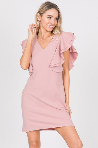 Mauve Double Ruffle Sleeve V Neck Dress with Pockets