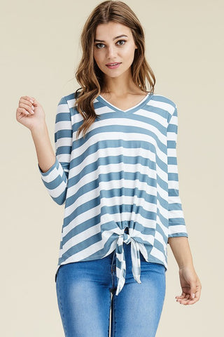 Deep Sea Striped Top with Tie Front